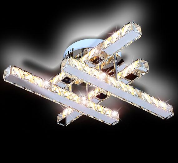HA214 SONATA LED Kristall Deckenleuchte 51x51x120(H) cm