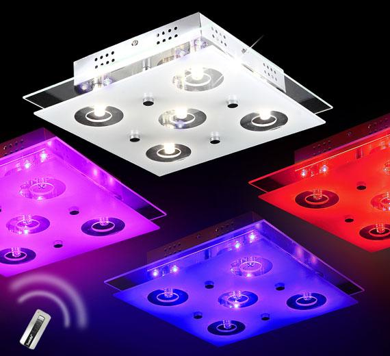 HA310 VICTORIA LED Deckenleuchte 32x32cm mit Farbwechsel/Fernbedienung