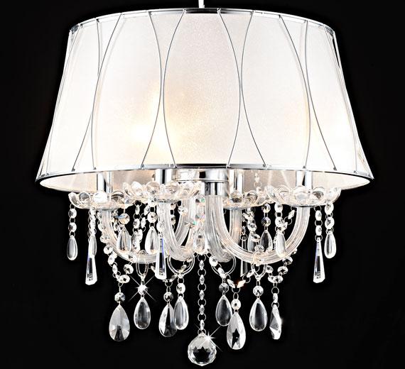 HA416. Aretta , Kronleuchter mit Lampenschirm , Farbe : Weiß Ø 50 cm