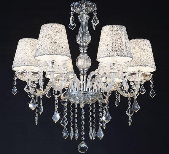 HA419  Melion Kristall / Glass Kronleuchter, 6 Arm Ø60cm mit Lampenschirmen
