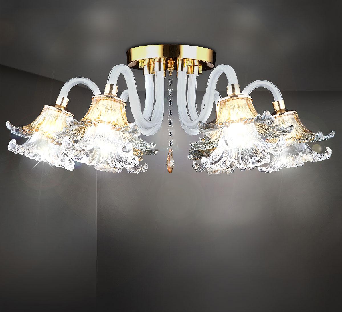 HA426 Samantha, Kronleuchter mit Lampenschirmen Weiß, Gold Ø60 cm