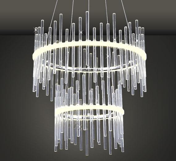 HA829 Artikus Led Design Glas Deckenleuchte Hängeleuchte 45cm 26W
