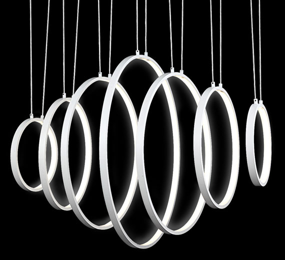 HA917 Belana LED Deckenleuchte, 70 x 5 x 100 cm, 7 Ringe beleuchtet