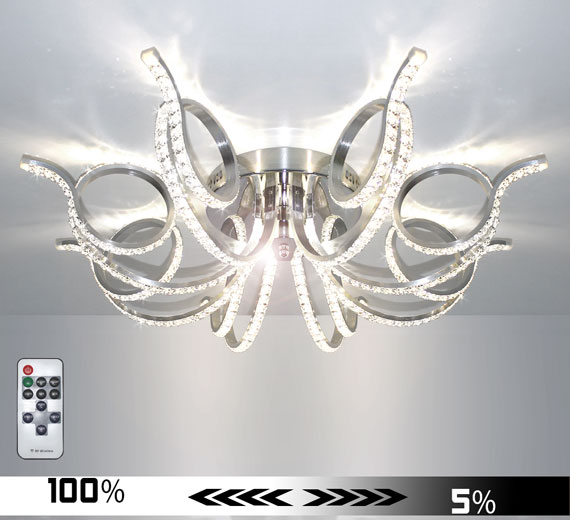 HA931 RADON  LED Kristall 84cm Deckenlampe Dimmbar + Fernbedienung