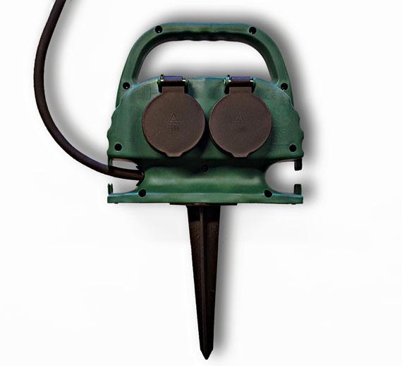 LM304008,  Gartensteckdose 4-Fach mit Erdspieß inkl. 10m Kabel