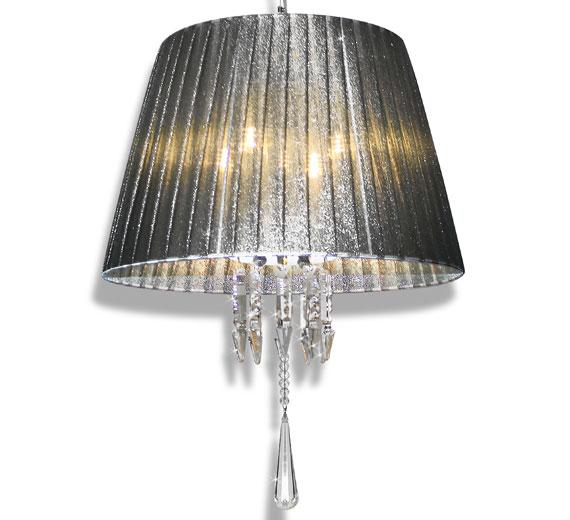 HA438 PARALUMA 45cm Kristall Hängelampe 80cm Tiefe Lampenschirm Grau-Silber