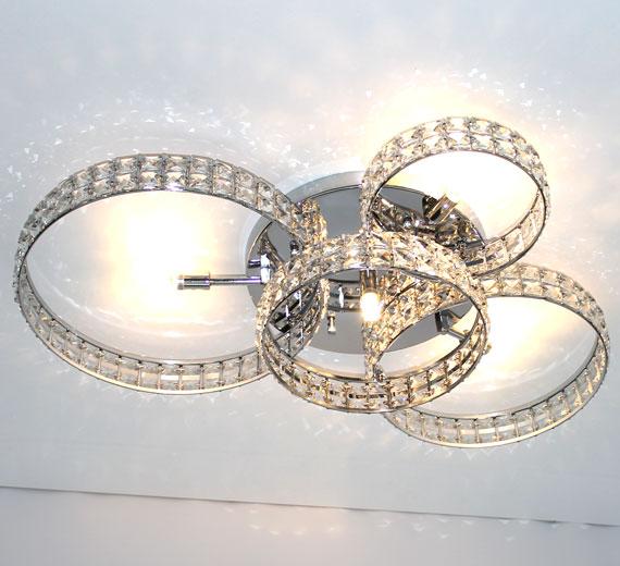 HA844 RINGARA Glas Kristall Deckenleuchte 4 Ringe 75x50x13 cm