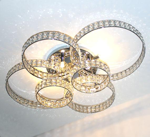 HA846 HALKALA Glas Kristall Deckenleuchte 6 Ringe 88x66x18 cm