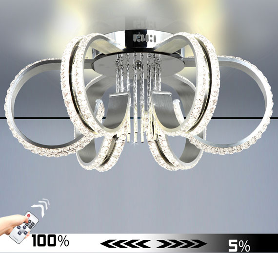 HA965 [4000K Neutralweiß] 50W Franka-C Kristall LED Deckenleuchte 55 x 25(H) cm