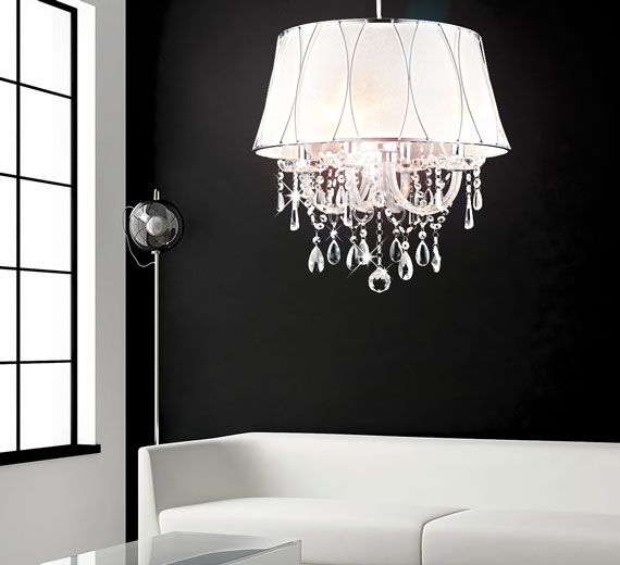Design lampenschirm kronleuchter glas kristall deckenleuchte lampe l ster 50cm ebay - Lampenschirm schlafzimmer ...