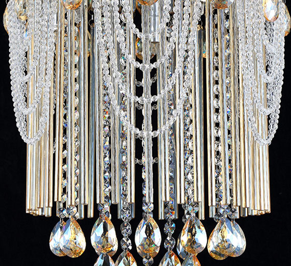 luxus champagner kristall kronleuchter deckenleuchte l ster deckenlampe gold 45 ebay. Black Bedroom Furniture Sets. Home Design Ideas