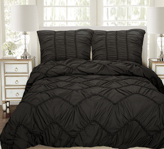 3d bett berwurf 240 x260 tagesdecke berwurfdecke berdecke biesen luxus schwarz ebay. Black Bedroom Furniture Sets. Home Design Ideas