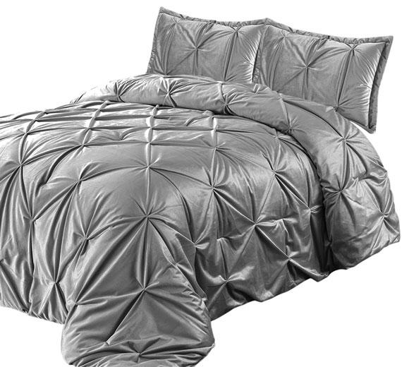 Bettüberwurf / Tagesdecke Modell : PINTUCK, Farbe: GRAU 3TLG  240x260cm